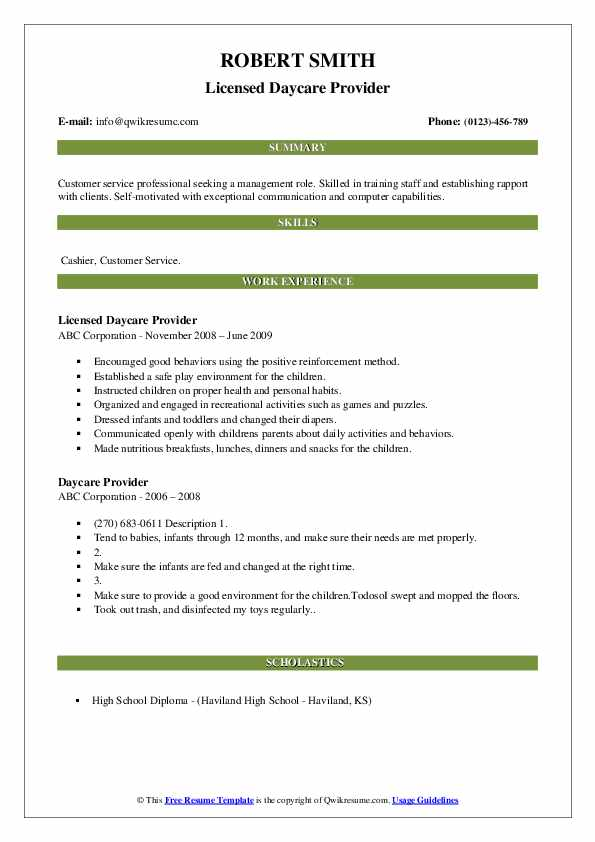 Licensed Daycare Provider Resume Example
