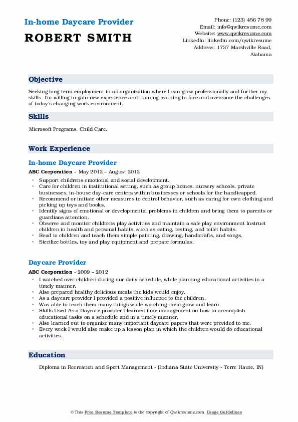 In-home Daycare Provider Resume Format