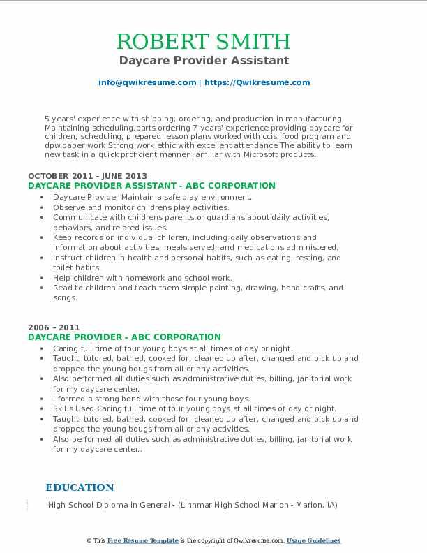Daycare Provider Assistant Resume Format