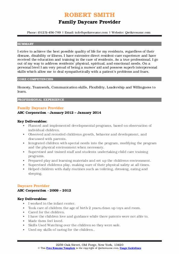 Family Daycare Provider Resume Sample