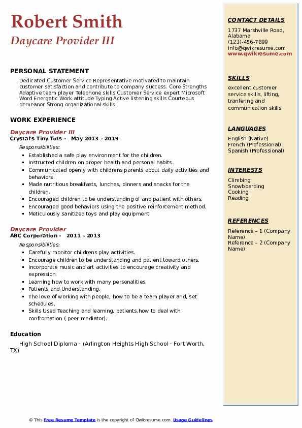Daycare Provider III Resume Template