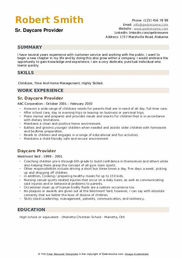 Sr. Daycare Provider Resume Example