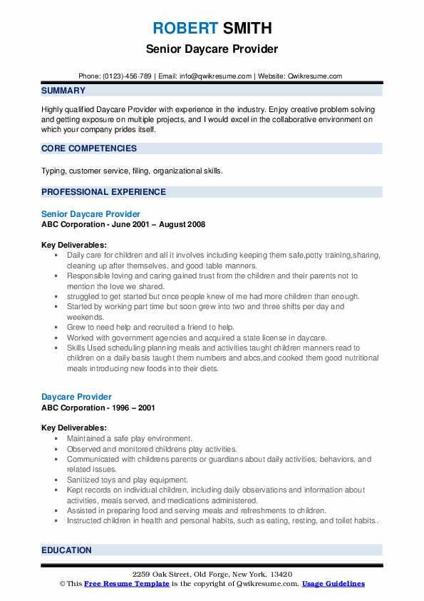 Senior Daycare Provider Resume Example