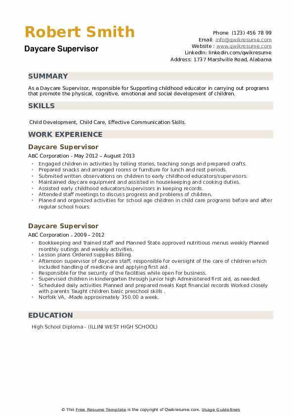 Daycare Supervisor Resume example