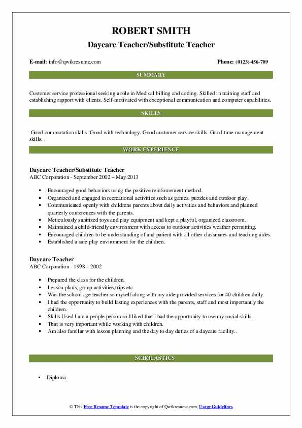 Daycare Teacher/Substitute Teacher Resume Sample