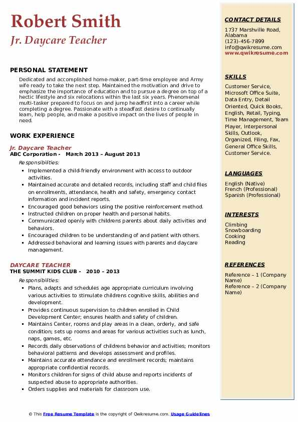 Jr. Daycare Teacher Resume Format
