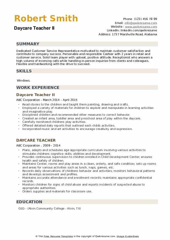 Daycare Teacher II Resume Format