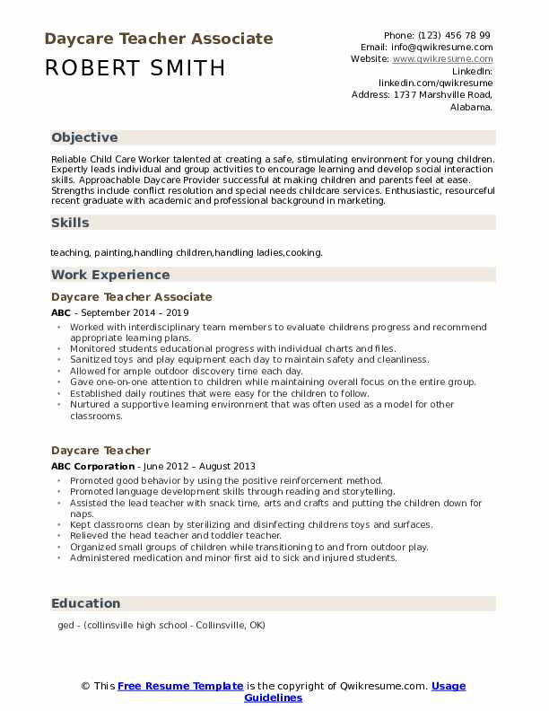 Daycare Teacher Associate Resume Template