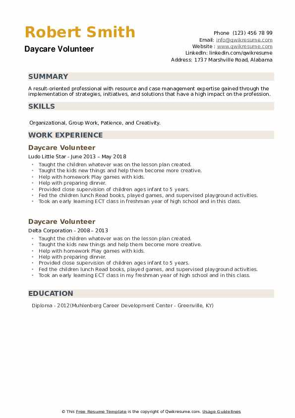 Daycare Volunteer Resume example