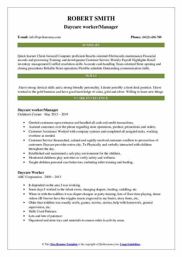 Daycare Worker Resume Samples | QwikResume