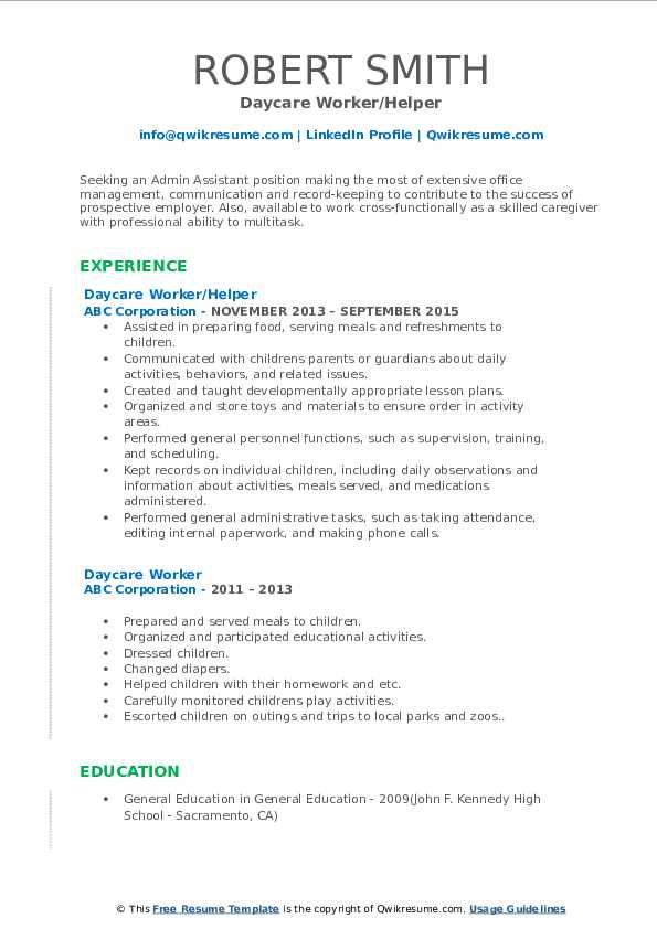 Daycare Worker/Helper Resume Template