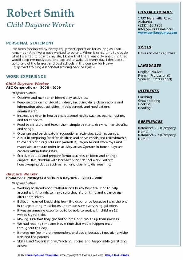 Child Daycare Worker Resume Example