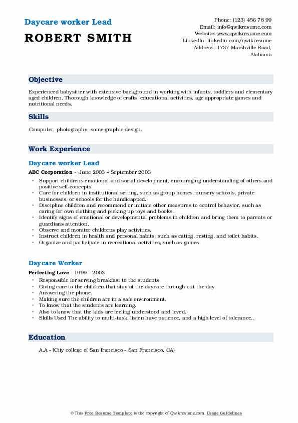 Daycare worker Lead Resume Sample