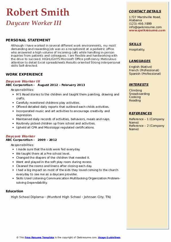 Daycare Worker III Resume Template