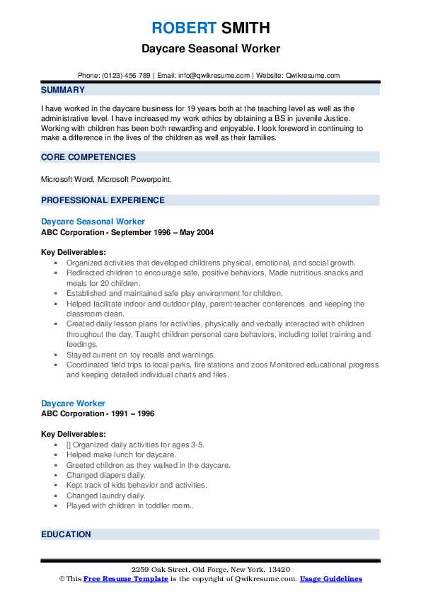 Daycare Seasonal Worker Resume Format