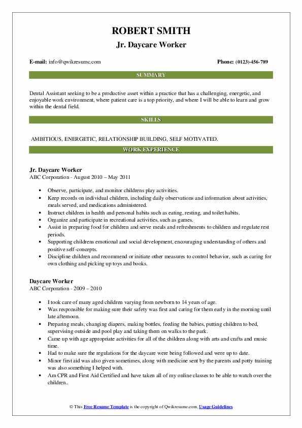 Jr. Daycare Worker Resume Format