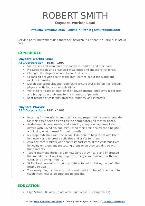 Daycare worker Lead Resume Model