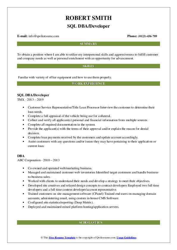 SQL DBA/Developer Resume Template