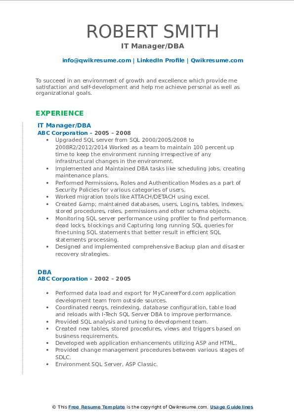 IT Manager/DBA Resume Sample