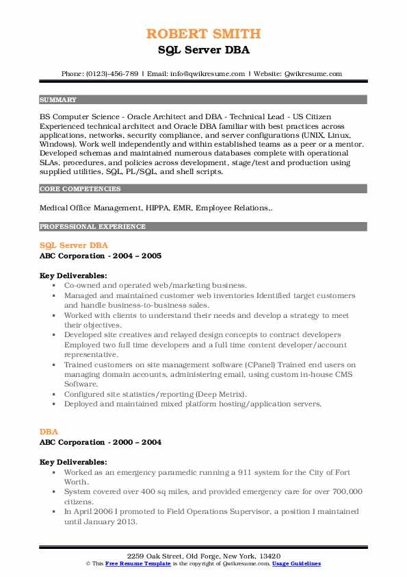 SQL Server DBA Resume Sample