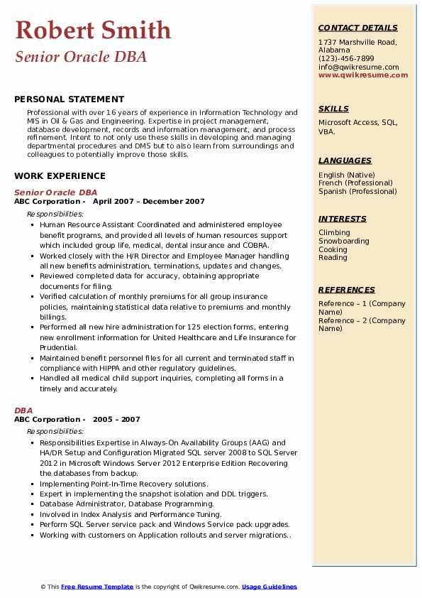 Senior Oracle DBA Resume Sample