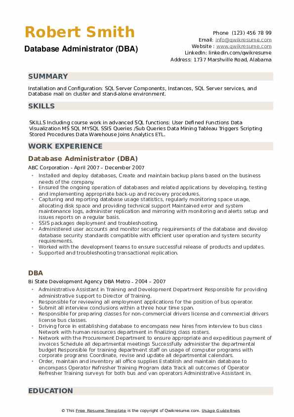 Database Administrator (DBA) Resume Template