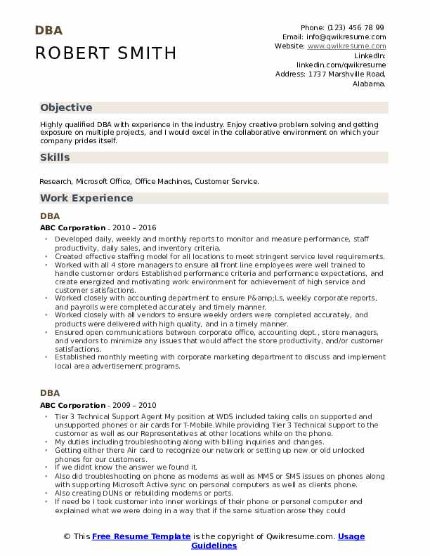 DBA Resume example