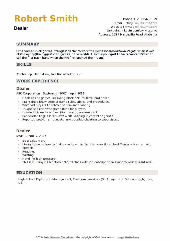 Dealer Resume example