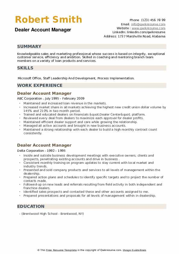 Dealer Account Manager Resume example