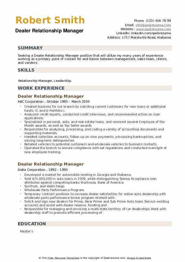 Dealer Relationship Manager Resume example