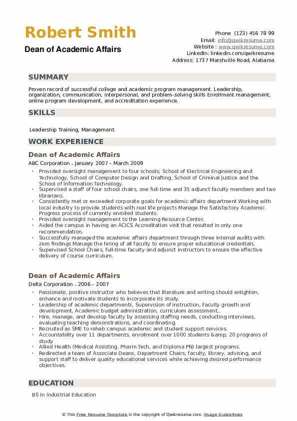 Dean of Academic Affairs Resume example