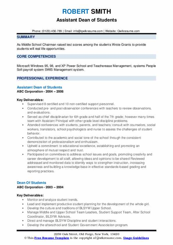 Assistant Dean of Students Resume Sample