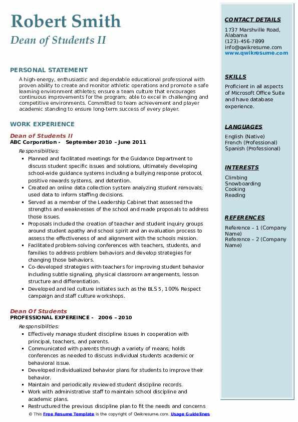Dean of Students II Resume Format