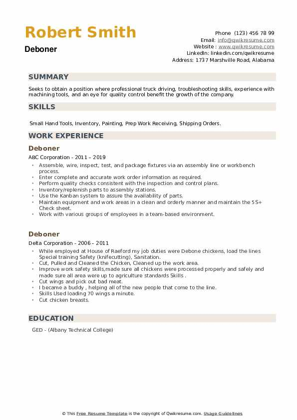 Deboner Resume example