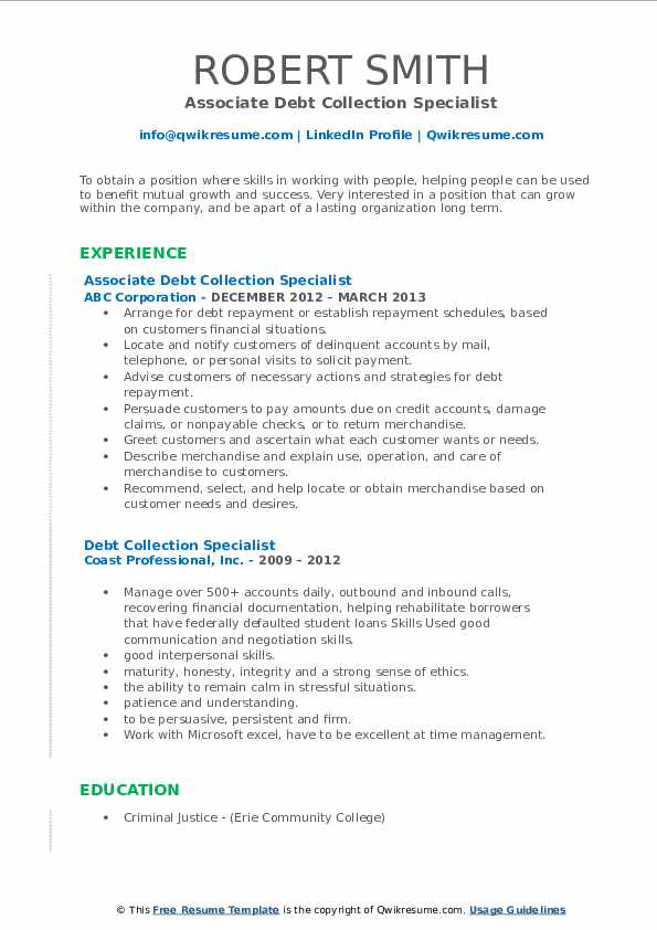 debt collection specialist resume samples  qwikresume