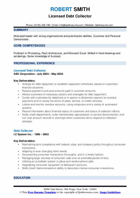 Licensed Debt Collector Resume Example