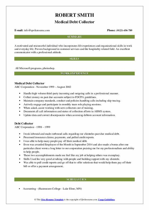 Medical Debt Collector Resume Format