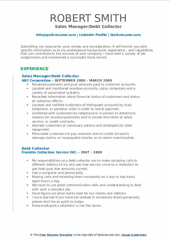 debt collector resume examples - Raptor.redmini.co