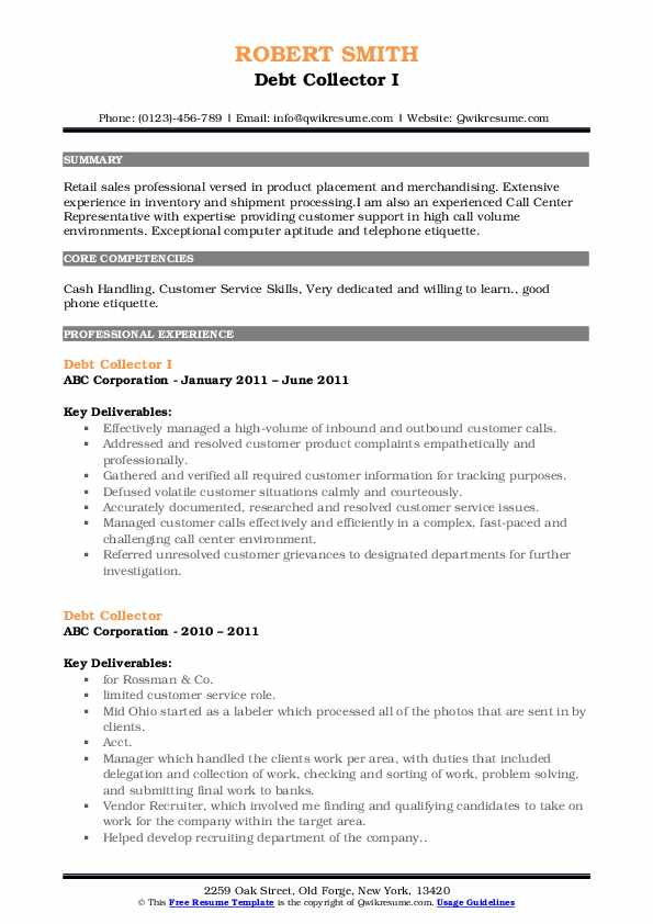 Debt Collector I Resume Template