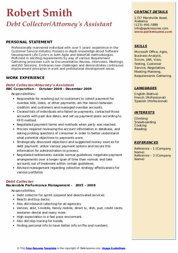 Debt Collector/Attorney's Assistant Resume Format