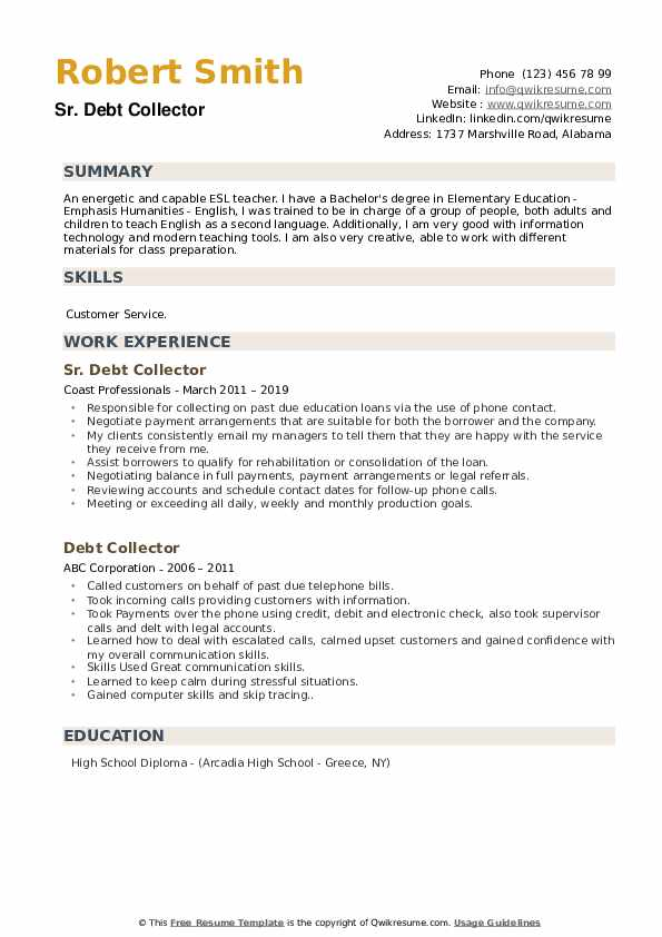 Sr. Debt Collector Resume Format