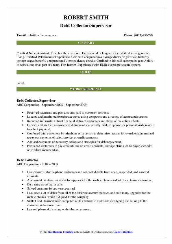 Debt Collector/Supervisor Resume Model