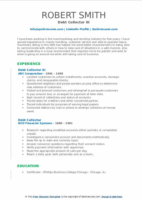 Debt Collector Resume Samples Qwikresume