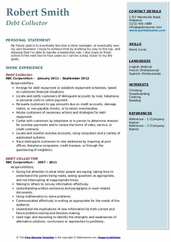 Debt Collector Resume Model