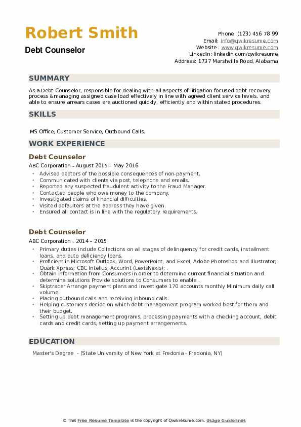 Debt Counselor Resume example