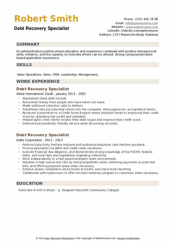 Debt Recovery Specialist Resume example