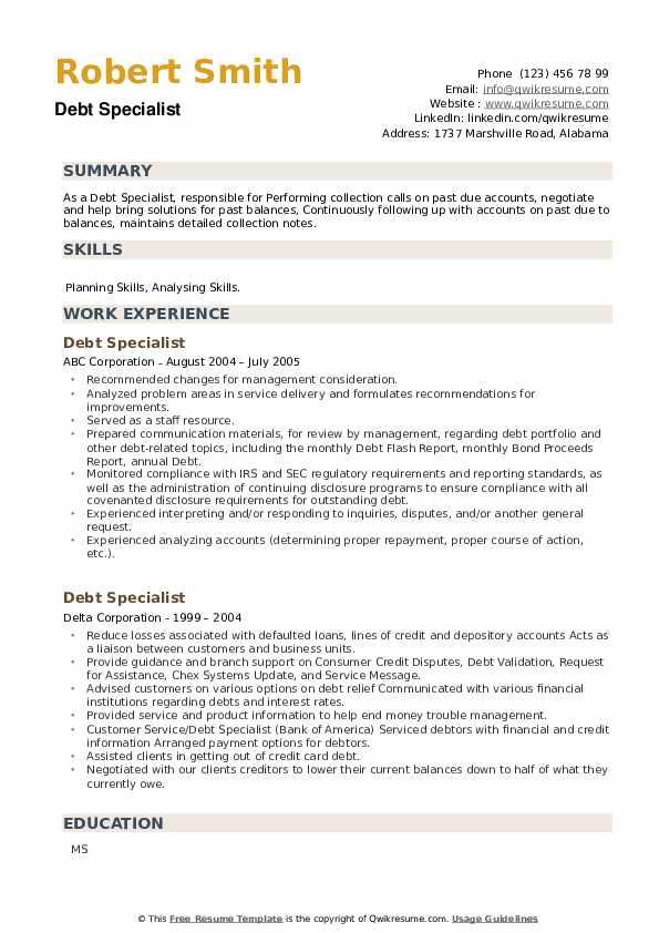 Debt Specialist Resume example