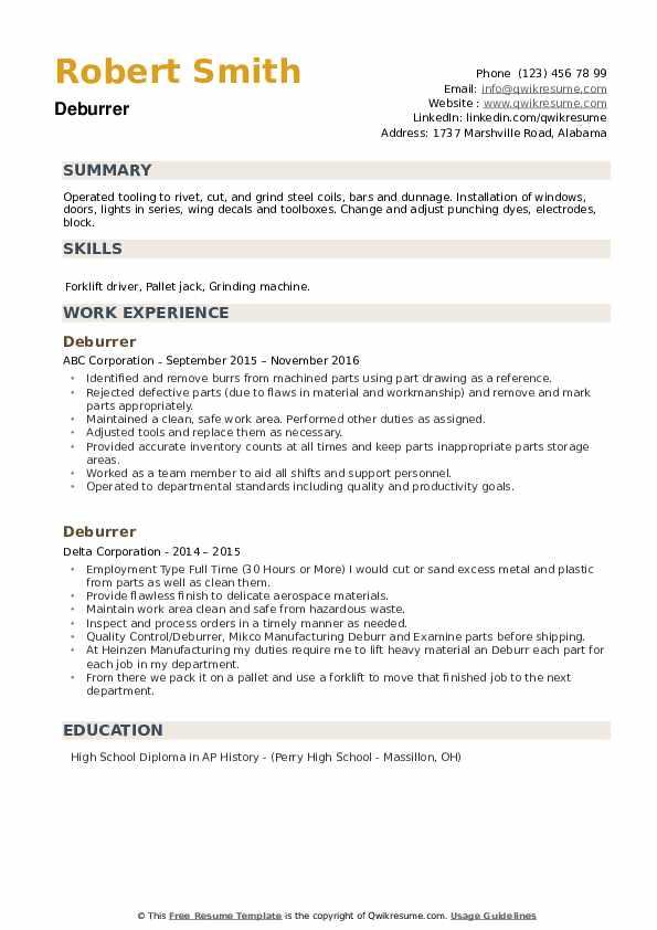 Deburrer Resume example