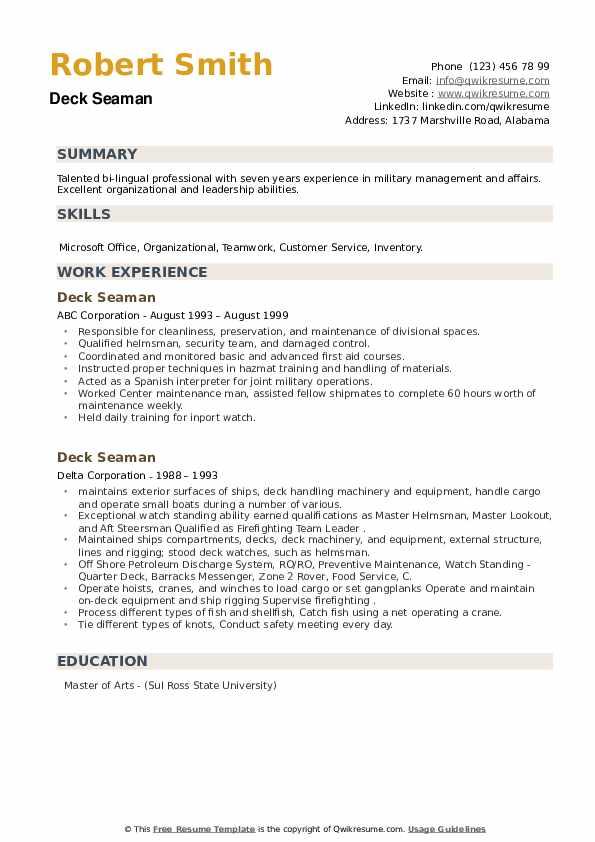 Deck Seaman Resume example