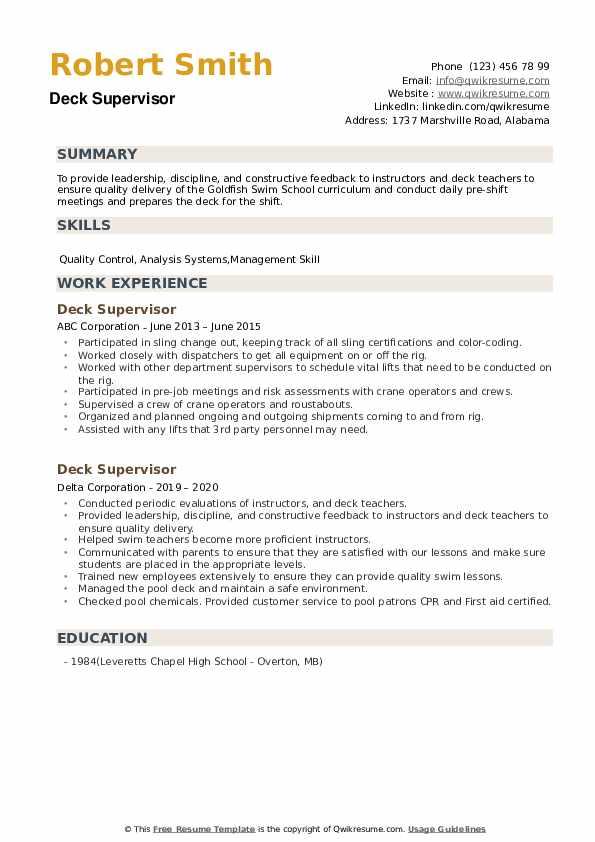 Deck Supervisor Resume example